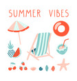 minimal summer set with lettering beach vector image vector image