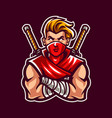 ninja mascot vector image vector image