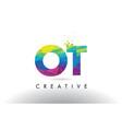 ot o t colorful letter origami triangles design vector image vector image