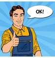 Pop Art Smiling Mechanic with Wrench Thumbs Up vector image