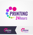 printing salon colorful logo on different vector image