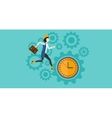 Running woman on clock background vector image vector image