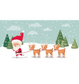 santa claus with deer group in snowscape vector image vector image