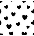 seamless pattern with black hearts on white vector image vector image