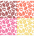 set seamless patterns with colorful lips vector image vector image