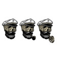 skull a captain in a knitted hat and with a vector image vector image