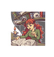 studing witch young lady reading a magic book vector image vector image