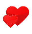 Two isolated red hearts on a white vector image vector image