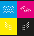 waves sign white icon with vector image