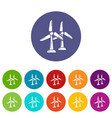 wind station icons set color vector image vector image