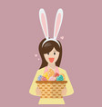 woman with bunny ears mask holding basket full of vector image vector image