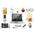 work space computer usb notebook vector image