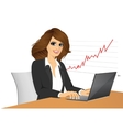 young pretty business woman with laptop vector image vector image