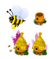 bee carrying honey and bee hive in cartoon style vector image