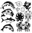 set of monochrome freshwater and marine fish and vector image