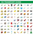100 transport icons set cartoon style vector image vector image