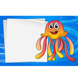 A jelly fish with an empty signage vector image vector image