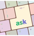 ask button on computer keyboard key vector image vector image