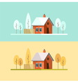 Autumn Winter House Family Suburban Home vector image vector image