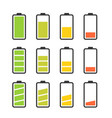 battery icon set with colorful charge level vector image