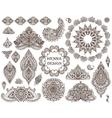 Big set of henna floral elements and frames vector image vector image