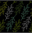 black seamless pattern with branches vector image vector image