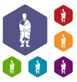 Buddhist monk icons set vector image vector image