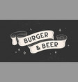 burger and beer vintage ribbon vector image vector image