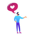 businessman and speech bubble with heart shape vector image