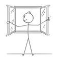 cartoon of man opening window vector image vector image