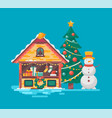christmas market tree and snowman vector image
