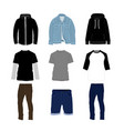 clothes and pants fashion style item set vector image