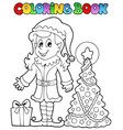 coloring book christmas elf theme 3 vector image