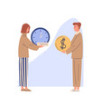 concept exchanging time for money and getting vector image