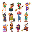 cute little witch hag harridan vixen with broom vector image