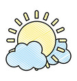 doodle light sun spring weather with clouds vector image vector image