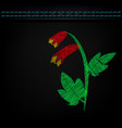 embroidered flowers on dark green cloth vector image
