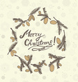 Fir cones Greeting card Congratulations with new vector image