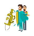 flat doctor protecting patient by shield vector image vector image