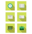 flat set with book schoolbag envelope notebook vector image