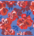 floral seamless pattern with red geranium vector image