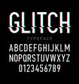 glitch distortion typeface vector image vector image