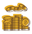 golden dollars in pile cash money usa vector image vector image