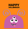 happy halloween monster scary face head icon eyes vector image