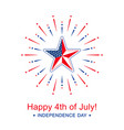 independence day with star in national flag vector image vector image