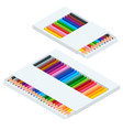 isometric coloured crayons or pencil colors vector image vector image