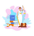 justice statue holding scales flat vector image vector image