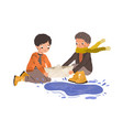 kids playing with paper boat and puddle in autumn vector image