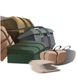 Large pile of road suitcases in cartoon style vector image vector image