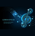 music treble clef and notes in swirl on dark blue vector image